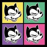 Toons do vintage quatro imagens do smiley retro do personagem de banda desenhada e do woolf das piscadelas no fundo colorido Fotografia de Stock