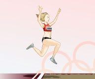 Toons olympiques - long saut Images libres de droits