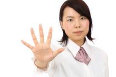 Toont de Aziatische onderneemster van Yound GEEN gebaar Royalty-vrije Stock Foto's