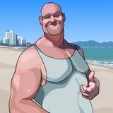 Toont de beeldverhaal gelukkige mannelijke grote kerel een het goedkeuren gebaarduim stock illustratie