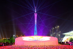 2016 toont de Chinese nieuwe jaarverlichting in het Vierkant van GuangZhou Huacheng Royalty-vrije Stock Foto's