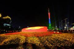 2016 toont de Chinese nieuwe jaarverlichting in het Vierkant van GuangZhou Huacheng Royalty-vrije Stock Fotografie