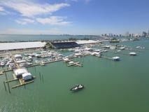 Toont de Internationale Boot van Miami luchtfoto Stock Foto's