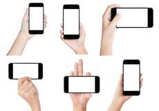 Toont de witte moderne slimme telefoon van de handgreep geïsoleerde het schermvertoning