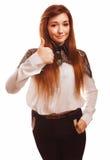 Toont het jonge donkerbruine meisje van de vrouwenemotie teken Royalty-vrije Stock Foto's