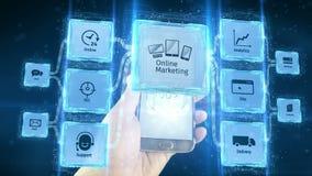 Toont online online marketing handelszaken elektronisch gebruik met mobiele apparaten, regelingsconcept Zwarte achtergrond