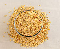 Toor Dal or Split Pigeon Pea in a Glass Bowl Stock Images