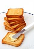 Toost met boter Stock Afbeelding