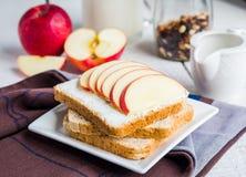 Toost met kaasgestremde melk, honing en rode appel, snack Royalty-vrije Stock Afbeeldingen