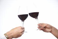Toost met rode wijn Stock Fotografie