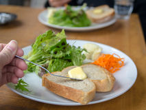 Toost met salades Royalty-vrije Stock Foto