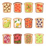 Toost vector gezond geroosterd voedsel met broodgroenten en vruchten of eisnack voor de reeks van de ontbijtillustratie van vector illustratie