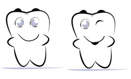 Tooth. Drawing of strong tooth on isolated background Royalty Free Stock Image
