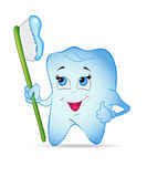 Tooth. Smiley tooth with toothbrush. Vector illustration Royalty Free Stock Photo
