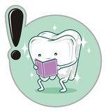 Tooth. Cartoon style, with a book Royalty Free Stock Images