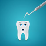 Tooth afraid dental probe Royalty Free Stock Image