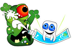 Tooth is against germ of caries. Cartoon tooth attacking big ugly germ with toothpaste Stock Photos