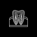 Tooth anatomy line icon. Dental and medicine, vector graphics, a linear pattern on a black background, eps 10 Stock Illustration