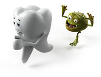 Tooth and bacteria character. 3d rendered illustration of a bacteria attacking a tooth Royalty Free Stock Photos
