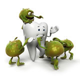 Tooth and bacteria character. 3d rendered illustration of a bacteria attacking a toth Royalty Free Stock Photos