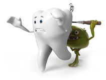 Tooth and bacteria character Stock Images