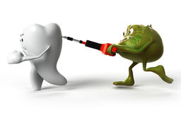 Tooth and bacteria. 3d rendered illustration of funny bacteria attacking a tooth Stock Photos