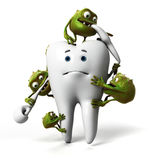Tooth and bacteria Royalty Free Stock Images
