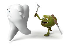 Tooth and bacteria Stock Photography