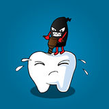 Tooth and bacteria. Illustration of Cartoon tooth be injured Stock Images