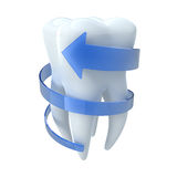 Tooth with blue arrow