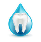 Tooth in blue drop isolated on white Royalty Free Stock Photos