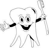 Tooth with Brush. A happy tooth holding a toothbrush Stock Photo
