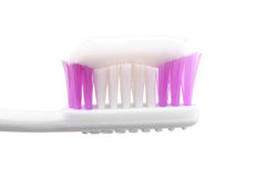 Tooth brush. Closeup with paste isolated on white - with handmade clipping-path Stock Photos