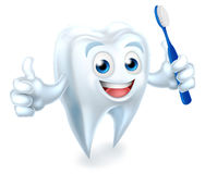 Tooth with Brush Dental Mascot Stock Image