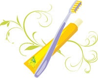 Tooth brush and paste Royalty Free Stock Photography