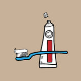 Tooth brush and paste Stock Photography