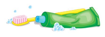 Tooth brush and paste vector illustration