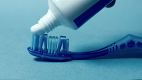Tooth brush and paste stock video