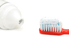 Tooth brush and tooth paste. Isolated on a white background Royalty Free Stock Photography