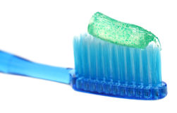 Tooth brush with tooth paste. Over white background Royalty Free Stock Photography