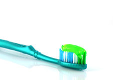 Tooth-brush with tooth paste. Over white Stock Image
