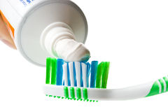 Tooth-brush and tooth-paste. On a white background Royalty Free Stock Photography