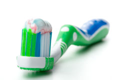 Tooth-brush and tooth-paste. On a white background Stock Photo