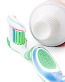 Tooth-brush and tooth-paste. On a white background Royalty Free Stock Photo