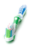 Tooth-brush and tooth-paste Stock Photos