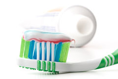 Tooth-brush and tooth-paste. On a white background Royalty Free Stock Photos