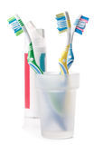 Tooth-brush and tooth-paste. On a white background Stock Image
