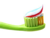Tooth brush with tooth paste isolated. On white background Royalty Free Stock Photo