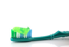 Tooth-brush with tooth paste. Over white Stock Photo