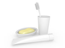 Tooth-brush, tooth-paste soap and a glass Royalty Free Stock Photography